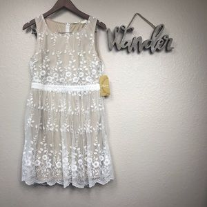 Andree white and tan lace dress